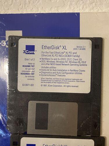 Fast Etherlink XL User Guide EtherDisk Floppy Disks 1997 Sealed - $4.99