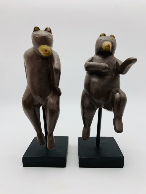 Vintage Toyo Dancing Bears Poly-Resin Bookends Figurine Rare Collectible