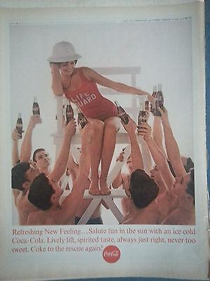 1963 Coca Cola Bottle Brunette Lifegaurd Red Swimsuits Boys Original Print Ad