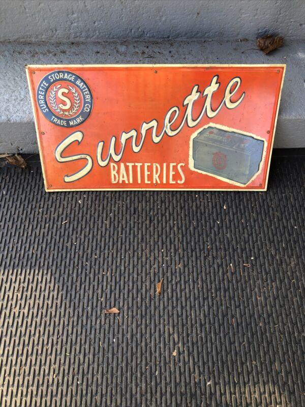 1940's Surrette Automobile Batteries Dealer Sign Original Rare
