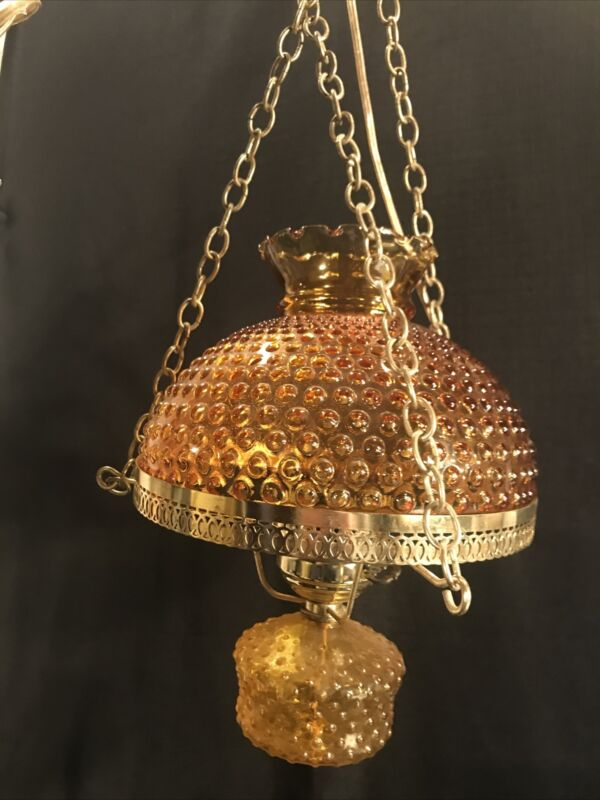"""Vintage GWTW, 10"""" Amber Hobnail Glass Shade 3 Way Hanging Hurricane Swag Lamp"""