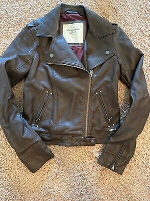 Abercrombie & Fitch Faux Leather Motorcycle Jacket XS Brown