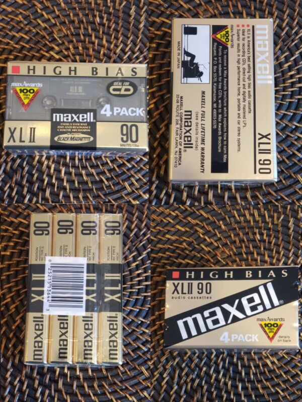 4 Pack Maxell XL-II 90-minute Blank Audio Cassette New Factory Sealed High Bias