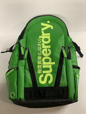 Superdry Green Tarp Backpack Lime Green *Rare* Colorway Black Label 201501 Euc
