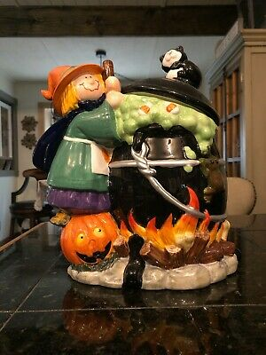 Halloween Black Cat with Black Kettle Brewing Witch Cookie Jar 2004