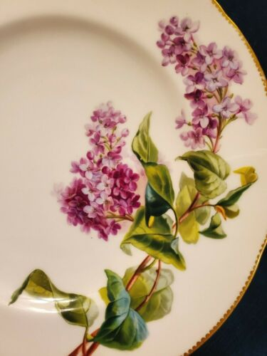 Early Hand Painted Minton Cabinet Plate Lilac Floral Gold  Old Merchant Label