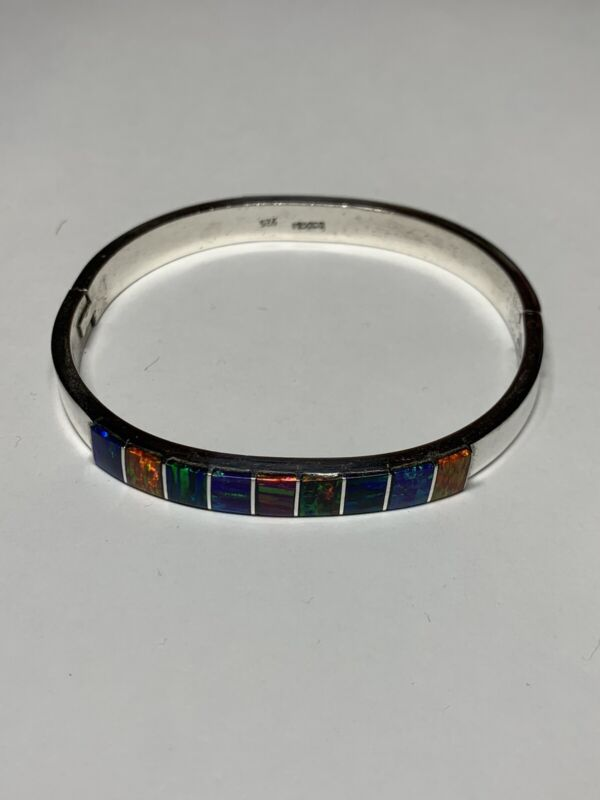 Vintage Mexico Sterling Silver and MOP Abalone Hinged Bangle Bracelet Multicolor