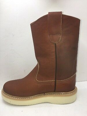 Women's Work Boots light Weight Pull On Leather Brown Oil/Water Slip Resistant