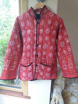 Vintage Anmol Indian Quilted Padded Cotton Jacket Boho Hippy