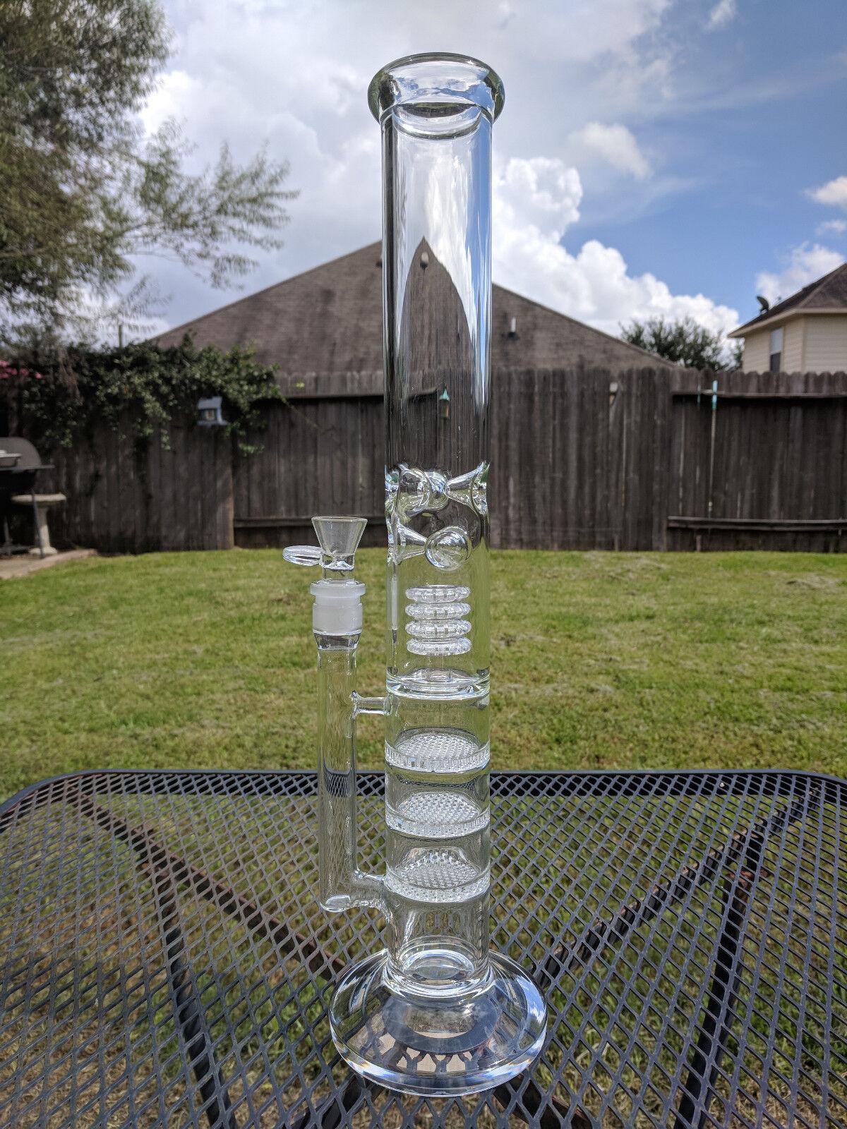 18 inch xl glass water pipe triple