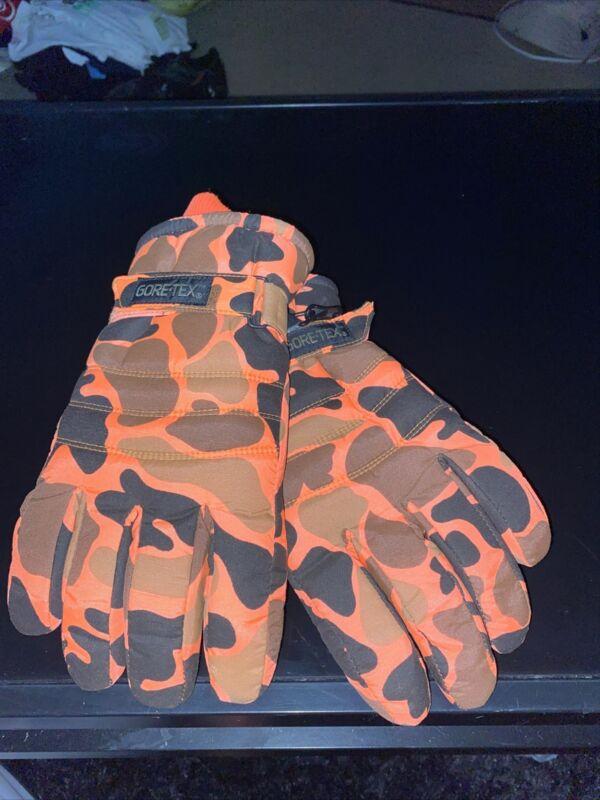 Vintage  Gore-Tex Branded Orange Camo Mens Gloves Med Blaze NWOT