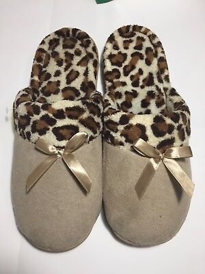 Ladies Beige Slippers with Synthetic Fur Inside BNIB Uk Size  5
