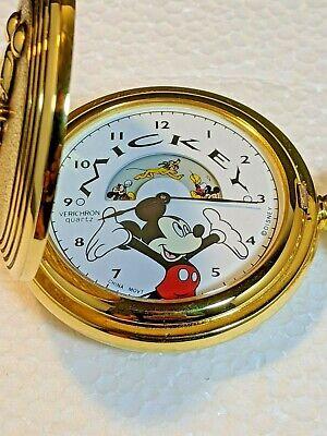 Disney Verichron Colibri Animated Mickey Mouse Pocket Watch In Tin Box. NOB