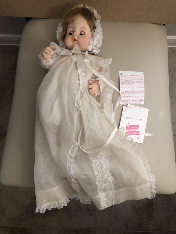 NIB Madame Alexander Sweet Tears Baby Doll In Christening Dress & Pacifier