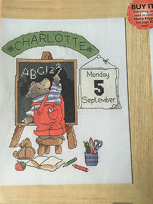 CROSS STITCH CHART Harry the Hippo back to School Personalised Sampler PATTERN