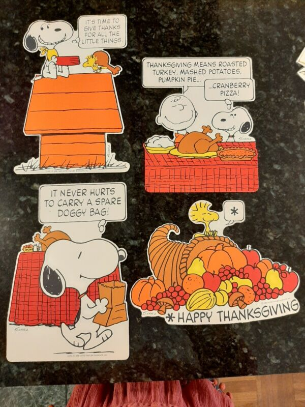 VINTAGE Thanksgiving SNOOPY Peanuts Hallmark MCM diecut one sided signd VGC
