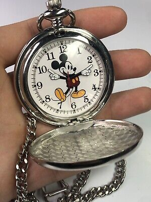 Disney Men's Mickey Mouse Stainless Steel Quartz Pocket Watch - New Battery!