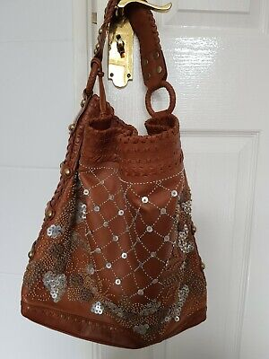 Isabella Fiore Carina Puff Beaded Large Tan Brown Leather Shoulder Tote Hobo Bag