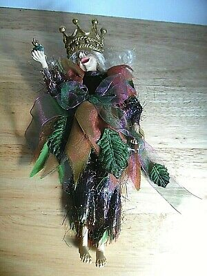 Tree Fairy/Pixie/Elf Woman Figure w/Frog & Crown Poseable Doll Ornament