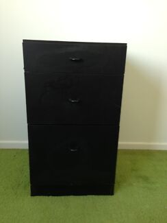 Black 3 drawer bedside table Burleigh Waters Gold Coast South Preview
