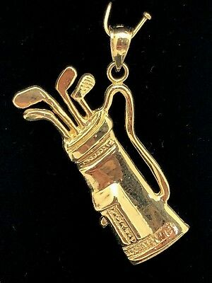 14k Yellow Gold High Polished Golf Club Bag Charm Pendant 5.2grams ()