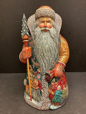 """MASTERPIECE 15.25"""" Russian Painted Santa Claus For Bozena Stefan MOP inlay"""