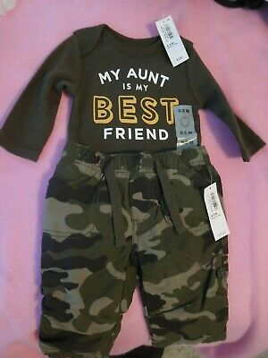 OLD NAVY INFANT BABY BOY OUTFIT MY AUNT IS MY BEST FRIEND SIZE 0-3 MONTHS
