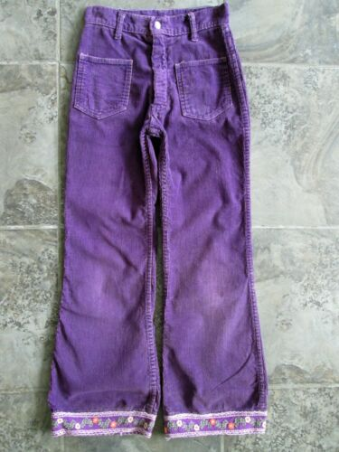 VTG Sears Growing Girl Pants 23x25 12 Slim Juniors Corduroy Purple Bootcut Leg