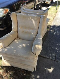 Arm chairs x 2 caramel velour