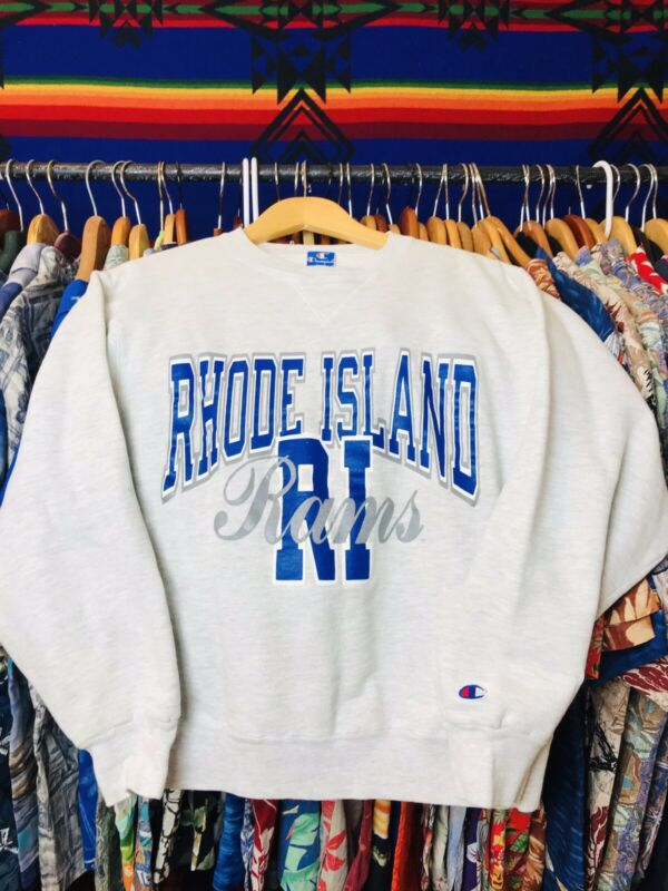 Vintage Champion Made In USA Rhode Island Rams Sweatshirt Large Unisex Gray Fire