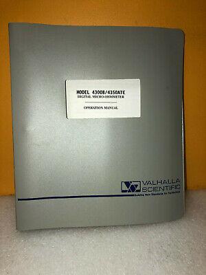 Valhalla Scientific 4300b4350ate Operation Manual