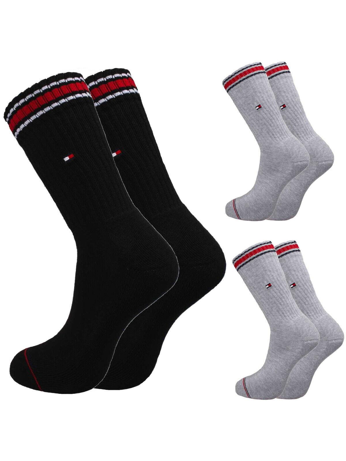 Tommy Hilfiger Herren Sport-Socken Strümpfe 2er-Pack in drei Farben mit Logo