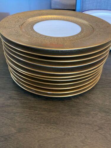 "SET 12 HEINRICH & CO H&C SELB BAVARIA 10.75"" DINNER PLATES ENCRUSTED GOLD EDGE"