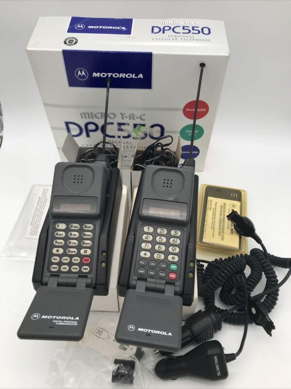 Motorola Microtac DPC550 Bell Brick Cell Phone Mobile Vintage 2-Phones + Extras