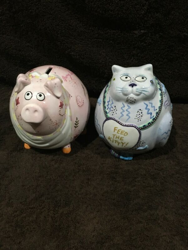 """Fitz and Floyd Piggy Banks """"Bring Home the Bacon& Feed the Kitty"""" set/2"""
