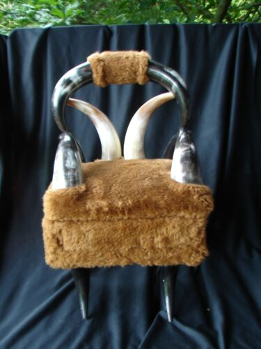 VINTAGE MINIATURE 1960s STEER HORN  CHAIR STORAGE UNDER SEAT