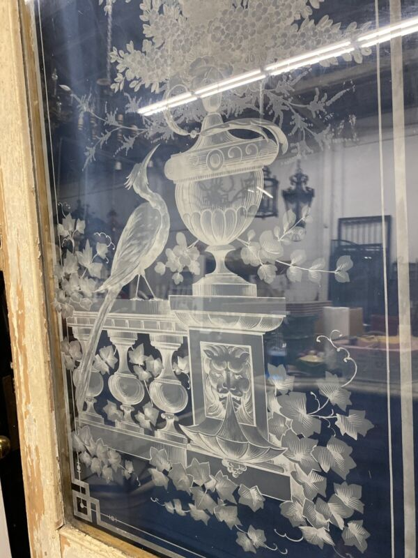 Old Etched Glass Parlor Door 97x31.5