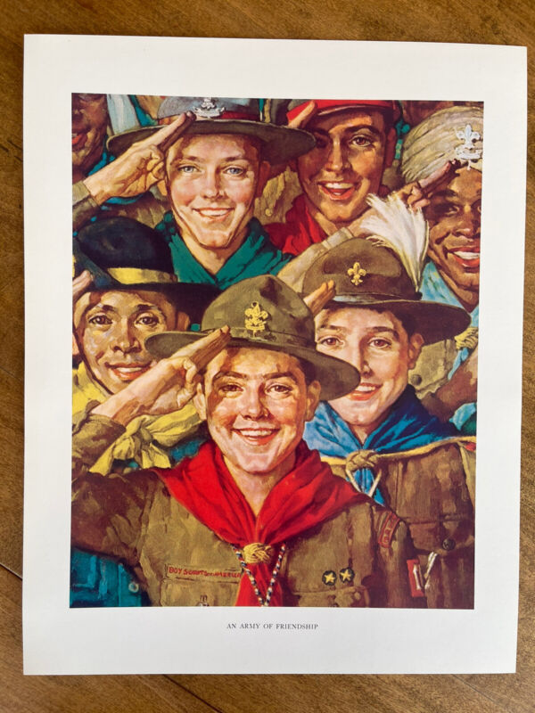 """Vintage 1960's Norman Rockwell BSA Boy Scout Print An Army Of Friendship 11x14"""""""