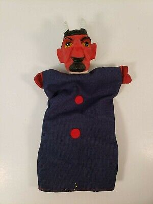 Devil Hand Puppet Vintage Rubber Head Cloth Halloween Punch Judy