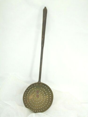 Vintage Brass and Metal Strainer with Hook, 18 Inches