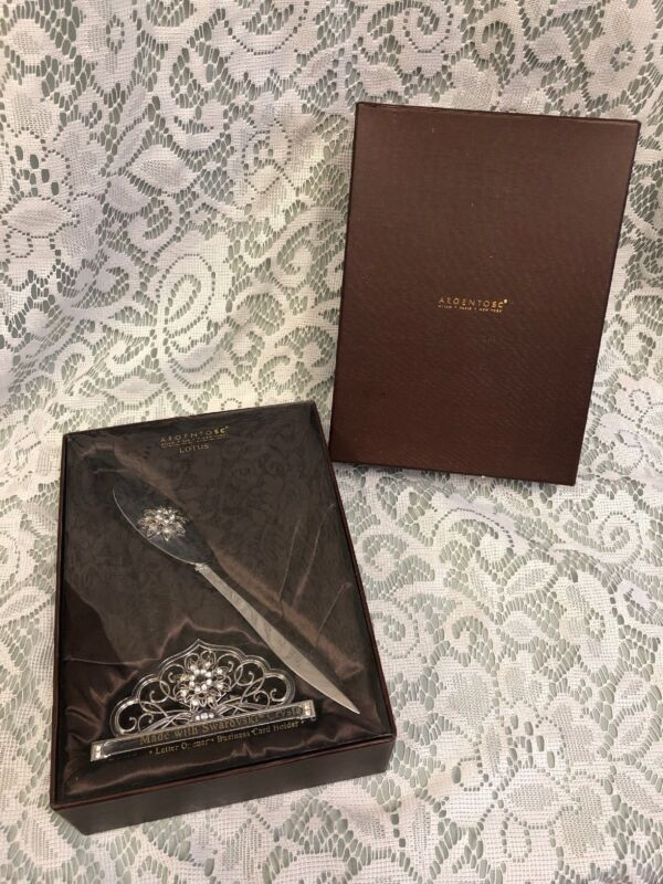 Argentosc 2Pc Desk Set With Swarovski Crystals Card Holder, Letter Opener