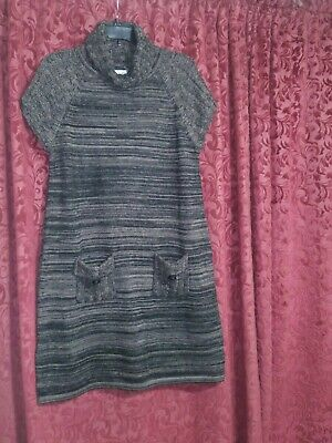Calvin Klein Turtleneck Sleeveless Sweater Dress sz L Knit Pocket