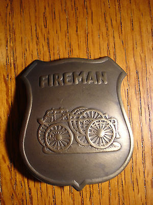 Fireman Solid Brass OLD WESTERN BADGE PIN 146 Fire House Department