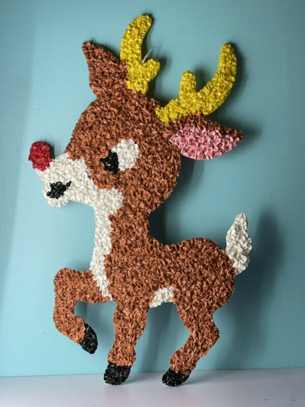Vintage~Christmas~Rudolph The Reindeer~Melted Popcorn Plastic~Wall Decoration