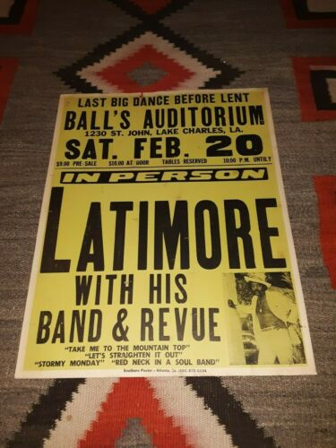 LATIMORE 1982 Original Large Concert Poster LAKE CHARLES LOUISIANA