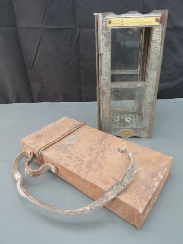 Rare WW1 1916 British Army Trench candle lantern & metal case Parkinson & Cowan