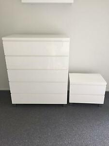 Gloss white tallboy and bedside table Muswellbrook Muswellbrook Area Preview