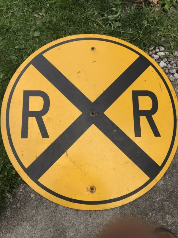 "Old Vintage Railroad Crossing Sign In Excellent Condition ! 30"" Dia."