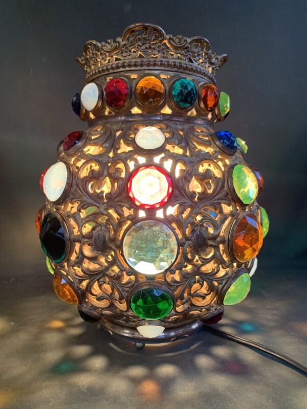 Lrg Antique Gilt Faceted Jewel Crown Top Shade - Light Fixture Jeweled Shade