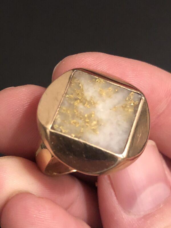 Antique 14k GOLD & GOLD IN QUARTZ Ring PRIME Condition OLD ESTATE FIND Unisex